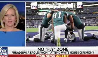 Screen capture of Fox News segment featuring Eagles players kneeling in prayer.