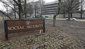 In this Jan. 11, 2013, file photo, the Social Security Administration's main campus is seen in Woodlawn, Md. (AP Photo/Patrick Semansky, File)