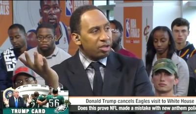 ESPN's Stephen A. Smith talks about President Trump's leverage over the NFL regarding its national anthem protests. (Image: ESPN screenshot)