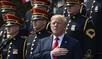 """President Donald Trump sings the National Anthem during a """"Celebration of America"""" event at the White House, Tuesday, June 5, 2018, in Washington, in lieu of a Super Bowl celebration for the NFL's Philadelphia Eagles that he canceled. (AP Photo/Susan Walsh)"""