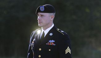 In this Jan. 12, 2016, file photo, then-Army Sgt. Bowe Bergdahl arrives for a pretrial hearing at Fort Bragg, N.C. (AP Photo/Ted Richardson, File)
