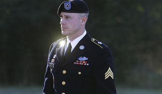 FILE - In this Jan. 12, 2016, file photo, then-Army Sgt. Bowe Bergdahl arrives for a pretrial hearing at Fort Bragg, N.C. A senior U.S. military commander is endorsing the decision to spare Army Pvt. Bowe Bergdahl prison time for abandoning his post in Afghanistan, endangering military comrades who participated in the search for him. Army Gen. Robert Abrams, head of U.S. Army Forces Command, approved the court-martial sentencing handed down last November.(AP Photo/Ted Richardson, File)