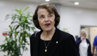FILE - In this May 17, 2018 file photo, Sen. Dianne Feinstein, D-Calif., departs after a vote on Gina Haspel to be CIA director, on Capitol Hill in Washington. Feinstein is facing a challenge from fellow Democrat Kevin de Leon, currently California state Senate president pro tem, in the upcoming California Primary on June 5. (AP Photo/Alex Brandon, File)