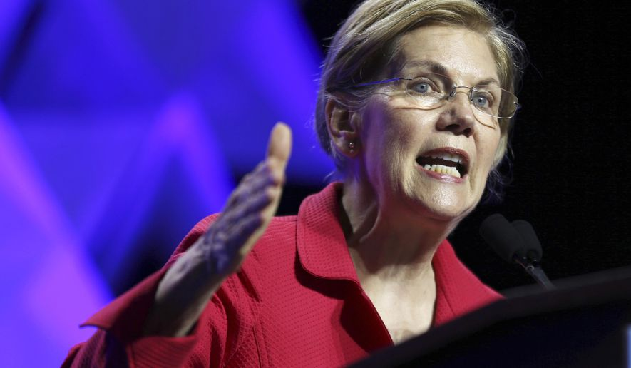 In this June 1, 2018, file photo, Sen. Elizabeth Warren, D-Mass., speaks at the 2018 Massachusetts Democratic Party Convention in Worcester, Mass.  (AP Photo/Elise Amendola, File) **FILE**