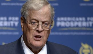 In this Aug. 30, 2013, file photo, Americans for Prosperity Foundation Chairman David Koch speaks in Orlando, Fla. Koch is stepping down from the Koch brothers network of business and political activities. The 78-year-old cited health reasons in a letter distributed to company officials on Tuesday, June 5, 2018. (AP Photo/Phelan M. Ebenhack, File)