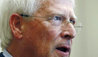 FILE - In this Aug. 14, 2017 file photo, U.S. Sen. Roger Wicker, R-Miss., speaks with reporters prior to an address before mid-Mississippi business leaders in Jackson, Miss. Wicker faces one opponent in the party primary for his Senate seat, Tuesday, June 5, 2018. (AP Photo/Rogelio V. Solis, File)