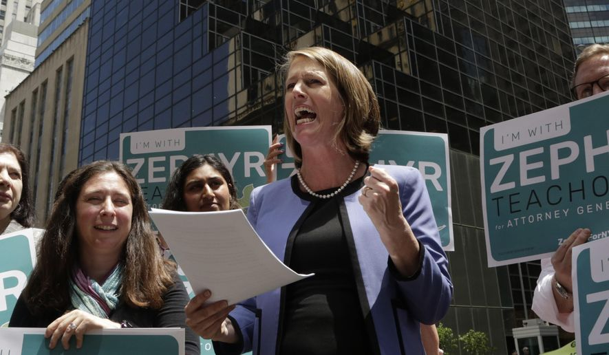 Zephyr Teachout announces her Democratic Party candidacy for the New York State attorney general race while standing across from Trump Tower, Tuesday, June 5, 2018, in New York. Teachout faces several candidates in the attorney general race, including New York City Public Advocate Letitia James. James won the endorsement of state Democrats at their convention last month. (AP Photo/Mark Lennihan) ** FILE **