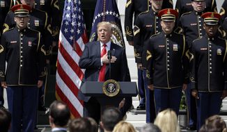 "President Donald Trump sings the national anthem during a ""Celebration of America"" event on the South Lawn of the White House, Tuesday, June 5, 2018, in Washington. Trump quickly scheduled the event with military bands after canceling a visit with the Philadelphia Eagles as he stoked fresh controversy over players who protest racial injustice by taking a knee during the national anthem. (AP Photo/Evan Vucci)"