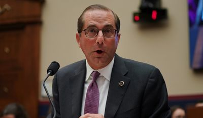 """There's not incentive for insurance companies in any way to contain their cost increases,"" Health and Human Services Secretary Alex Azar said Wednesday. He said Obamacare's problem is its design, since taxpayer subsidies chase rising premiums. (Associated Press)"