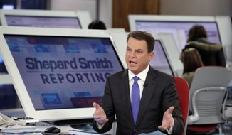 "Fox News Channel chief news anchor Shepard Smith broadcasts from The Fox News Deck during his ""Shepard Smith Reporting"" program, in New York, Monday, Jan. 30, 2017. (AP Photo/Richard Drew) ** FILE **"