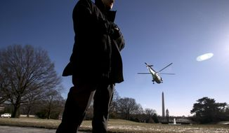 A member of the Secret Service stands guard as Marine One with President Donald Trump aboard departs the South Lawn of the White House in Washington, Friday, Jan. 5, 2018, to travel to Camp David in Maryland. (AP Photo/Andrew Harnik)