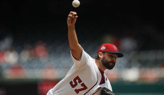 Washington Nationals starting pitcher Tanner Roark delivers a pitch against the Tampa Bay Rays, during the first inning of a baseball game at Nationals Park, Wednesday, June 6, 2018, in Washington. (AP Photo/Pablo Martinez Monsivais)