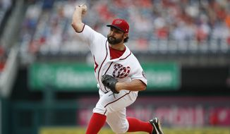 Washington Nationals starting pitcher Tanner Roark throws against the Tampa Bay Rays, during the third inning of a baseball game at Nationals Park, Wednesday, June 6, 2018, in Washington. Nationals won 11-2. (AP Photo/Pablo Martinez Monsivais)