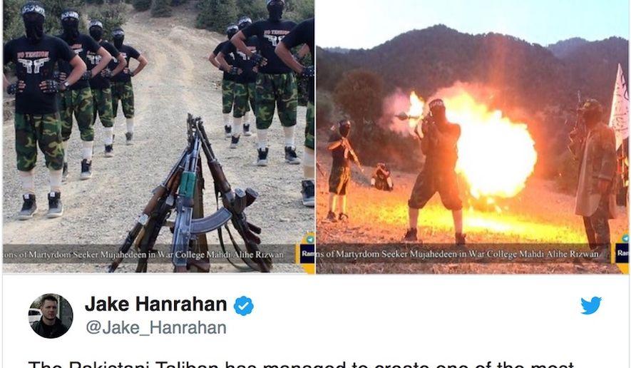 "Tehrik-e-Taliban (TTP) has released a propaganda video with its new ""no tension"" training uniforms. (Twitter, Jake Hanrahan via Tore Hamming)"
