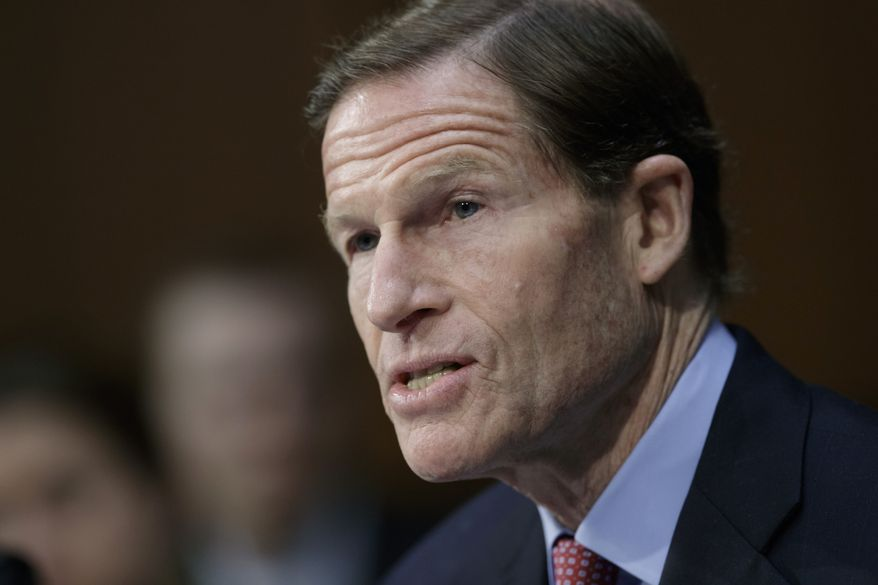 In this April 3, 2017, file photo, Sen. Richard Blumenthal, D-Conn. speaks on Capitol Hill in Washington. Lawyers representing nearly 200 Democrats in Congress plan to argue in federal court Thursday that President Donald Trump is violating the Constitution by accepting foreign government favors such as Chinese trademarks without first seeking congressional approval. (AP Photo/J. Scott Applewhite, File)