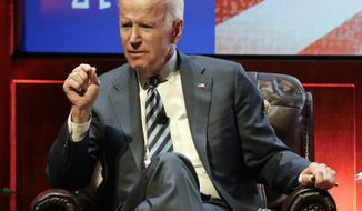 FILE - In this April 10, 2018, file photo, former Vice President Joe Biden takes part in a question and answer session at Vanderbilt University in Nashville, Tenn. Biden is scheduled to give the keynote speech at a Maryland Democratic Party unity event in late June after the state's primary, the party said Wednesday, June 6. (AP Photo/Mark Humphrey, File)