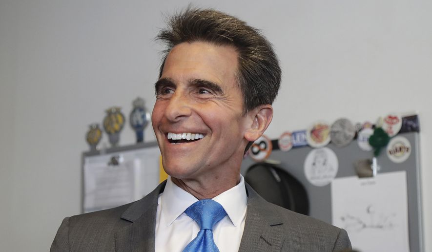 Former state Sen. Mark Leno speaks to reporters in San Francisco, Wednesday, June 6, 2018. Leno pulled ahead in San Francisco's race for mayor by the slimmest of margins early Wednesday under the city's unusual voting system, although Board of Supervisors President London Breed maintained her lead in first-place votes. (AP Photo/Jeff Chiu)