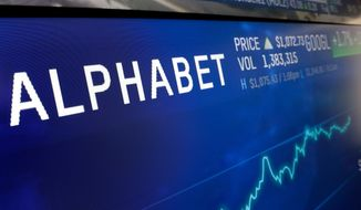 FILE- In this Feb. 14, 2018, file photo the logo for Alphabet appears on a screen at the Nasdaq MarketSite in New York. Google parent Alphabet Inc. has rejected several shareholder proposals aimed at linked executive pay to diversity goals, being more open about its lobbying expenses, narrowing the gender pay gap, and weakening the grip founders Larry Page and Sergey Brin have on company voting stock. (AP Photo/Richard Drew, File)