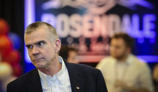 Matt Rosendale, a candidate for the Republican nomination for U.S. Senate, attends a watch party for primary returns Tuesday, June 5, 2018, in Helena, Mont. (Thom Bridge/Independent Record via AP)