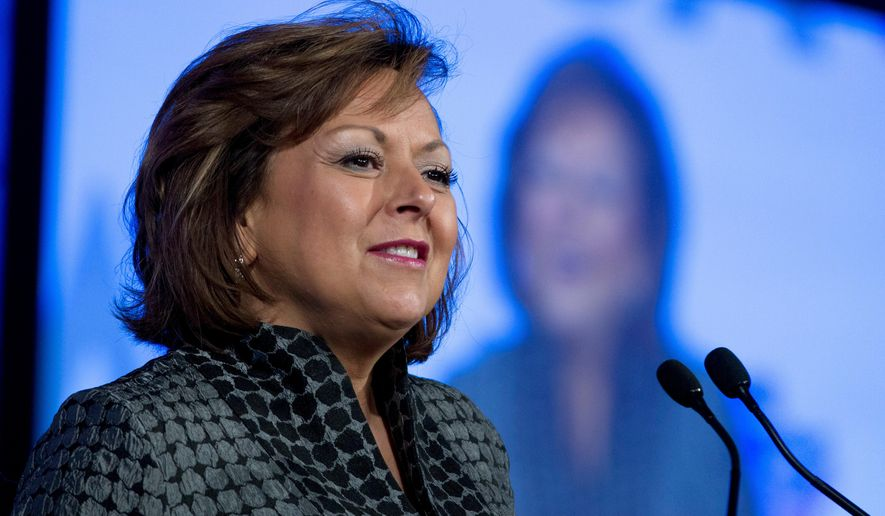 FILE--In this Feb. 25, 2018, file photo, New Mexico Gov. Susana Martinez, speaks at the National Governor Association 2018 winter meeting in Washington, D.C. Martinez says the revenue that comes from oil and gas development in New Mexico is critical for funding education and other public services and that Congress needs to address what she described as bureaucratic red tape. (AP Photo/Jose Luis Magana, file)