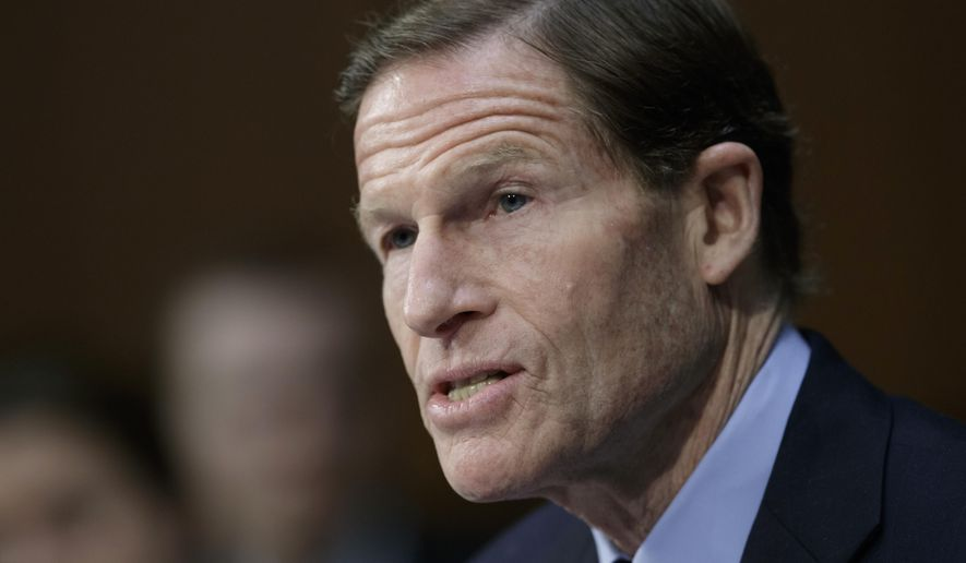 In this April 3, 2017, file photo, Sen. Richard Blumenthal, D-Conn. speaks on Capitol Hill in Washington. (AP Photo/J. Scott Applewhite, File)