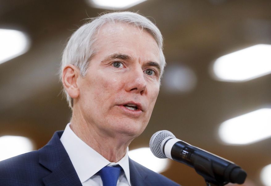 """FILE - In this April 16, 2018, file photo, Sen. Rob Portman, R-Ohio, speaks during a news conference in Cincinnati. The Obama administration secretly sought to give Iran brief access to the U.S. financial system by sidestepping sanctions kept in place after the 2015 nuclear deal, despite repeatedly telling Congress and the public it had no plans to do so. That's according to an investigation by Senate Republicans released June 6. """"The Obama Administration misled the American people and Congress because they were desperate to get a deal with Iran,"""" said Portman, the subcommittee's chairman. (AP Photo/John Minchillo, file)"""