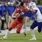 """Wide receiver Trey Quinn (18), who led the NCAA in receptions last season with SMU, was selected by the Washington Redskins with the 256th pick in the 2018 NFL Draft. As the last pick of the draft, Quinn was given the yearly moniker, """"Mr. Irrelevant."""" (ASSOCIATED PRESS)"""