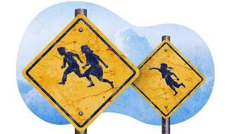 Illegal Aliens Warning Signs Illustration by Greg Groesch/The Washington Times