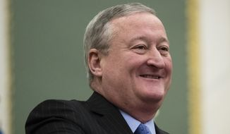 Philadelphia Mayor Jim Kenney smiles before speaking at City Hall in Philadelphia, Thursday, Nov. 2, 2017. Kenney on Thursday called for the panel that governs the city's schools to be dissolved and replaced by mayor-appointed board. (AP Photo/Matt Rourke)