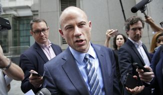 Michael Avenatti, attorney for Stormy Daniels, talks to reporters as he leaves court in New York, Wednesday, May 30, 2018. A New York judge says lawyers for President Donald Trump's personal lawyer and Trump have until June 15 to make attorney-client privilege claims over data seized in April raids. (AP Photo/Seth Wenig)