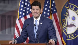 Speaker of the House Paul Ryan, R-Wis., takes questions from reporters following a closed-door GOP meeting on immigration without reaching an agreement between conservatives and moderates, on Capitol Hill in Washington, Thursday, June 7, 2018. Ryan says party leaders will try crafting a compromise that follows President Donald Trump's immigration proposals. (AP Photo/J. Scott Applewhite) **FILE**