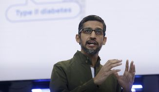 "In this May 8, 2018, file photo, Google CEO Sundar Pichai speaks at the Google I/O conference in Mountain View, Calif. Google pledges that it will not use artificial intelligence in applications related to weapons or surveillance, part of a new set of principles designed to govern how it uses AI. Those principles, released by Pichai, commit Google to building AI applications that are ""socially beneficial,"" that avoid creating or reinforcing bias and that are accountable to people. (AP Photo/Jeff Chiu, File)"