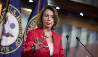 House Minority Leader Nancy Pelosi, D-Calif., talks to reporters during her weekly news conference, on Capitol Hill in Washington, Thursday, June 7, 2018. (AP Photo/J. Scott Applewhite) ** FILE **