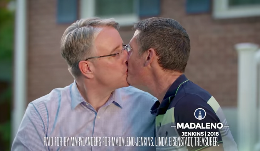 "Screen capture of a gubernatorial campaign ad by Maryland Democrat Richard Madaleno in which he kisses his husband to ""piss off Donald Trump."" (YouTube)"
