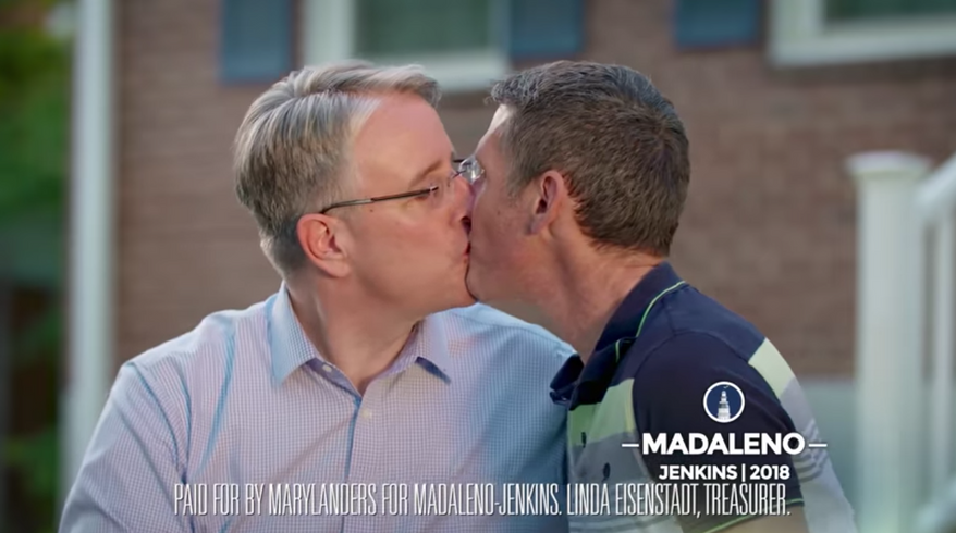 """Screen capture of a gubernatorial campaign ad by Maryland Democrat Richard Madaleno in which he kisses his husband to """"piss off Donald Trump."""" (YouTube)"""