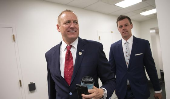 Rep. Jeff Denham, R-Calif., arrives for a closed-door GOP meeting in the basement of the Capitol as the Republican leadership tries to reach a policy agreement between conservatives and moderates on immigration, in Washington, Thursday, June 7, 2018. Denham and other moderates need just two more GOP signatures on a petition to require immigration votes, assuming all Democrats sign on. (AP Photo/J. Scott Applewhite) ** FILE **