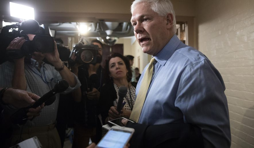 House Rules Committee Chairman Pete Sessions, R-Texas, answers questions from reporters as House Republicans try to bridge their party's internal struggle over immigration at a closed-door meeting on Capitol Hill in Washington, Thursday, June 7, 2018. Top Republicans want to head off an election-year showdown that divides the party. (AP Photo/J. Scott Applewhite) **FILE**