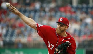 Washington Nationals starting pitcher Stephen Strasburg throws during the first inning of a baseball game against the San Francisco Giants at Nationals Park, Friday, June 8, 2018, in Washington. (AP Photo/Alex Brandon) **FILE**