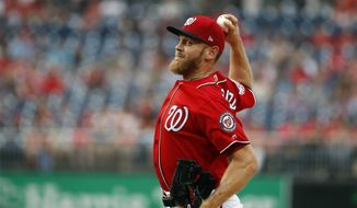 Washington Nationals starting pitcher Stephen Strasburg throws during the first inning of a baseball game against the San Francisco Giants at Nationals Park, Friday, June 8, 2018, in Washington. (AP Photo/Alex Brandon)