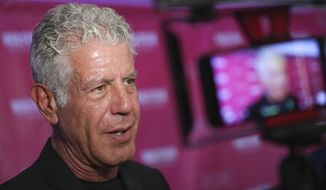 """FILE - In this Oct. 5, 2017 file photo, Executive Producer and narrator chef Anthony Bourdain attends the premiere of """"Wasted! The Story of Food Waste"""" at the Alamo Drafthouse Cinema in New York.  Bourdain has been found dead in his hotel room in France, Friday, June 8, 2018,  while working on his CNN series on culinary traditions around the world. (Photo by Brent N. Clarke/Invision/AP, File)"""