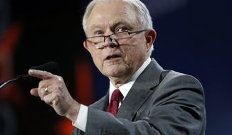 U.S. Attorney General Jeff Sessions makes a point during his speech at the Western Conservative Summit, Friday, June 8, 2018, in Denver. (AP Photo/David Zalubowski) **FILE**