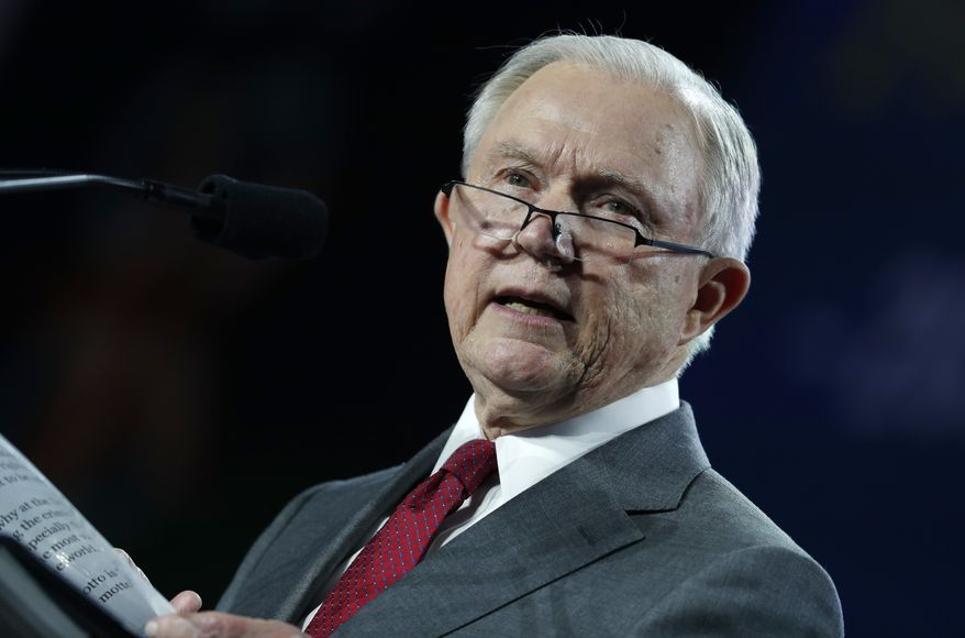 "Under Attorney General Jeff Sessions, the Justice Department said in a statement of interest that the Ann Arbor university has imposed a ""system of arbitrary censorship of, and punishment for, constitutionality protected speech."" (Associated Press/File)"