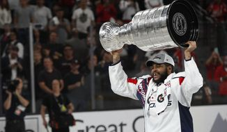Washington Capitals right wing Devante Smith-Pelly skates with the Stanley Cup after the Capitals defeated the Golden Knights 4-3 in Game 5 of the NHL hockey Stanley Cup Finals Thursday, June 7, 2018, in Las Vegas. (AP Photo/John Locher) **FILE**