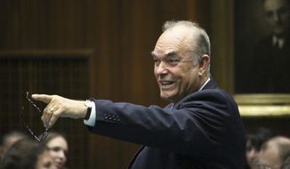 FILE - In this Feb. 14, 2017, file photo, state Rep. Don Shooter gestures on the floor of the Arizona House in Phoenix, Ariz. A new lawsuit says the former state lawmaker, expelled for a pattern of sexual harassment, shouldn't be allowed to run for office again because he doesn't live in the district. (AP Photo/Bob Christie, File)