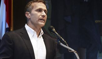FILE - In this May 29, 2018, file photo, Missouri Gov. Eric Greitens announces his resignation during a news conference in Jefferson City. Jackson County prosecutor Jean Peters Baker said Friday, June 8, 2018, her investigation of the former governor found no corroborating evidence that would support refiling a felony invasion of privacy charge. (Julie Smith/The Jefferson City News-Tribune via AP, File)