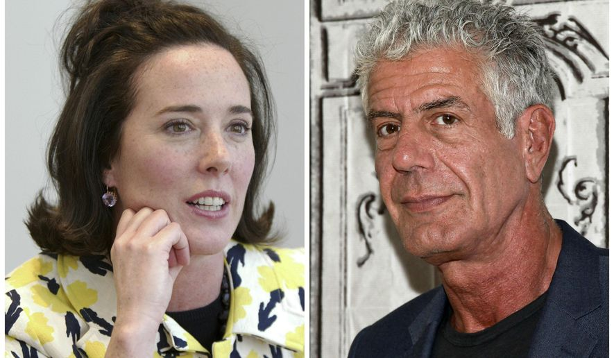 This combination of 2004 and 2016 file photos shows fashion designer Kate Spade and chef Anthony Bourdain in New York. A U.S. report released in June 2018 found an uptick in suicide rates in nearly every state since 1999. Middle-aged adults _ ages 45 to 64 _ had the largest rate increase. Bourdain was 61 and Spade was 55. (AP Photo/Bebeto Matthews, Andy Kropa/Invision)