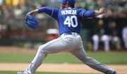 Kansas City Royals pitcher Kelvin Herrera works against the Oakland Athletics in the ninth inning of a baseball game Saturday, June 9, 2018, in Oakland, Calif. (AP Photo/Ben Margot) ** FILE **