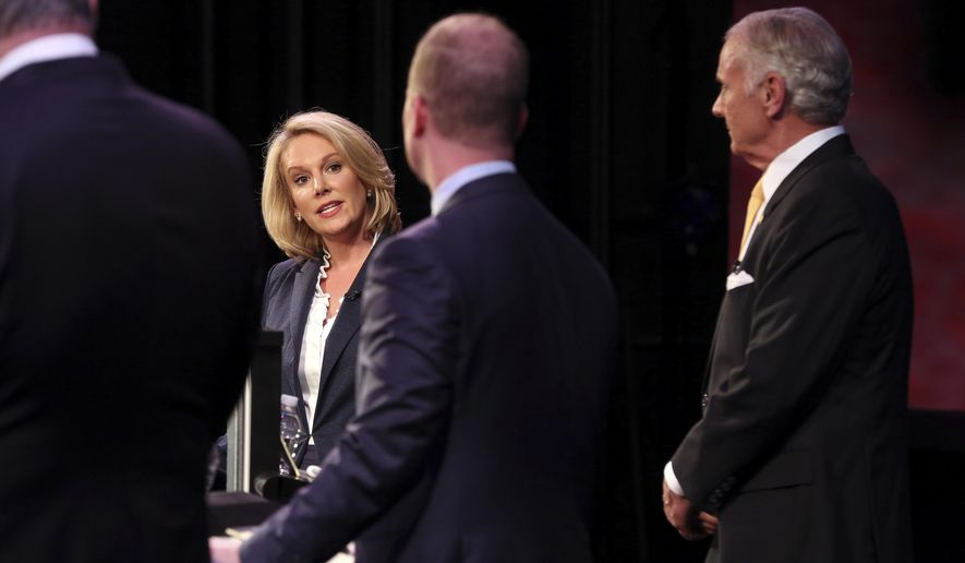 Republicans Catherine Templeton, John Warren and Gov. Henry McMaster participate in a gubernatorial primary debate at the University of South Carolina Tuesday June 5, 2018 in Columbia, S.C. (Grace Beahm Alford/The Post And Courier via AP)
