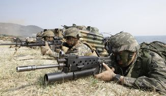 FILE - In this March 30, 2015, file photo, marines of South Korea, right, and the U.S aim their weapons near amphibious assault vehicles during the U.S.-South Korea joint landing military exercises as a part of the annual joint military exercise Foal Eagle between the two countries in Pohang, South Korea. On May 16, 2018, North Korea abruptly cancels a high-level meeting with the South and threatens to cancel the summit with U.S. President Donald Trump too in protest over U.S.-South Korean military exercises. (AP Photo/Lee Jin-man, File)