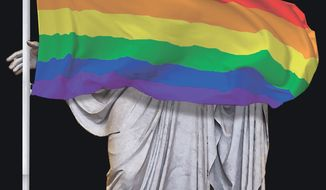 "Illustration on ""gay Christianity"" by Alexander Hunter/The Washington Times"